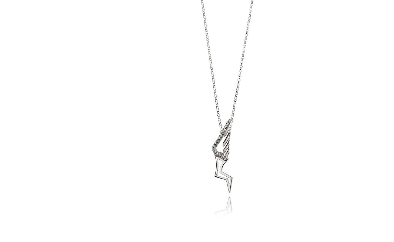 Hermes aliki stroumpouli hermes pendant white platinum patinated silver and zircon stones aloadofball Gallery